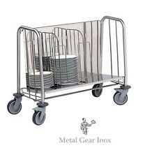 Chariot assiettes Inox ( capacité 200 assiettes)  .