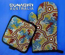 Australian Aboriginal Art Oven Mitt Pot Holder Set Wetland Dreaming