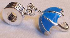 3D Blue Umbrella Enamel Dangle Bead for Silver European Charm Jewelry Bracelets