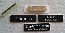 """Custom Name Tags 2.5""""x0.75"""" Black -White letters Corners Rounded w/ magnet"""
