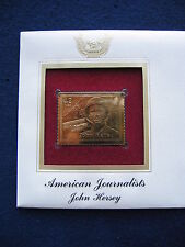2008 American Journalists John Hersey FDC Replica 22kt Gold Golden Cover Stamp
