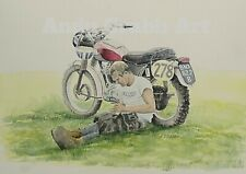 Steve McQueen ISDT Triumph watercolour print by Andy Crabb