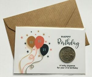 Birthday Lucky Sixpence 13th 16th 18th 21st - Gift Keepsake with envelope