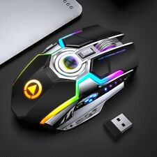 Gaming Wireless Mouse Rechargeable Silent LED Backlit Ergonomic RGB Mice Optical