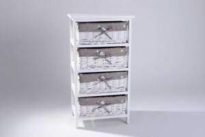 Shabby Chic Wicker Basket Storage Wooden Bedside Cabinet Table Unit 4 Draw White