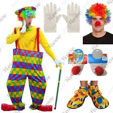 Adult Hooped Clown Costume Mens Womens Circus Party Fancy Dress Carnival Outfit