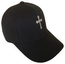 Black Christian Cross Religious Baseball Cap Caps Hat God Jesus Gold White Blk