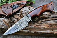 Handmade Hunting Knife Bowie Damascus Steel Survival Knife EDC 10'' with Sheath