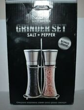 Set of Stainless Steel & Glass Salt And Pepper Grinders Mills with Stand