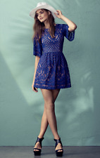 $338 BCBG Jillyan Bright Larkspur Blue Floral Lace Cocktail Dress Sz 0 XXS 2 XS