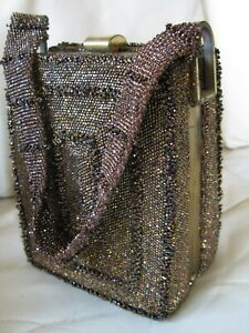 Vintage Gold Tone Iridescent Peacock Brown Copper Bead Box Purse 1930s 1940s