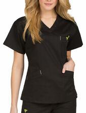 Plus Size Ladies Scrub Top Med Couture Cotton Blend Black 3Xl Nwt