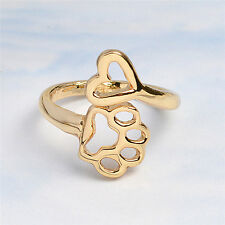 Always By My Heart Cute Adjustable Rings Footprints Heart Jewelrys For Dog Owner