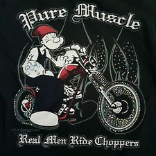 Popeye T Shirt Stay Tooned Chopper Motorcycle Pure Muscle Tattoos Black Short XL