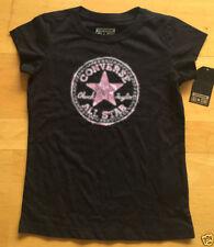 T-shirt noir coton mélangé pour fille de 2 à 16 ans