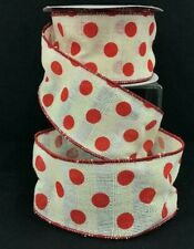 """Linen Waffle Style Wired Edge Dot Ribbon~Red, Cream~2 1/2""""W x 9 yd"""