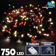 Catena Luminosa 750 Luci LED Lucciole Bianco Caldo e Rosso con Controller 8 Funz