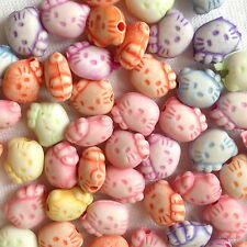 150 Hello Kitty Mélanger Couleur Plastique Bijoux Charme Perles Artisanat 10 mm AB0121