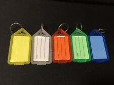 10X Plastic Luggage ID Label Key Tag Tags Keychains Key Chain Fob Ring Name Card