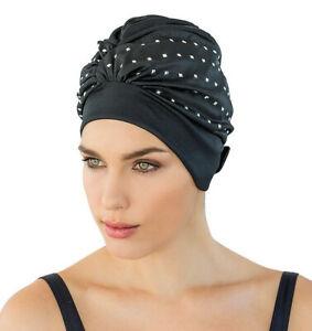 Ladies Swim Cap - Black with Silver Studs - Fashy Retro Swim Bathing Cap