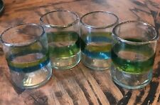 Color Band blown glass, Blue, Green Mexican Glasses Blown Glass, Lot 4