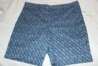 Tommy Bahama Men's Blue Print Cotton Blend Flat Front Shorts $110 NWT Size 40