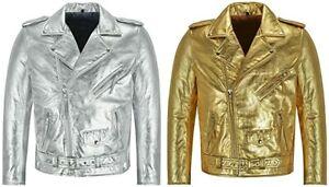 Men's Brando Slim-Fit Gold/Silver Foiled Leather Jacket Biker Racer Jacket