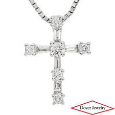 Estate 0.62ct Diamond 18K White Gold Small Cross Pendant NR