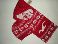 NWT HOLLISTER CLASSIC GIFT SET WINTER SCARF & HAT RED WITH OR WITH OUT GIFT BOX