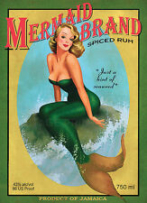 MERMAID BRAND RUM Vintage Liquor Advertising Poster Giclee Canvas Print 20x28