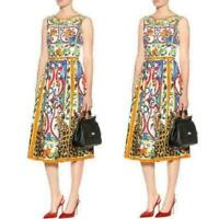 Womens Floral Print Knee Length Runway Highwaist Swing Sleeveless Vest Dress NEW
