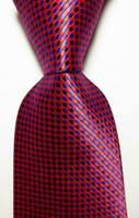 New Classic Checks Red Black Blue JACQUARD WOVEN 100% Silk Men's Tie Necktie