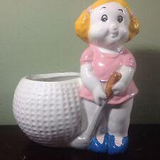 Golfing Girl Porcelain Flower Vase or Votive Holder