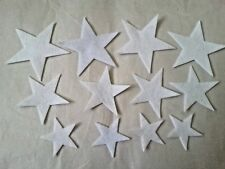 Die Cut Felt STAR Shapes x12 WHITE Craft Scrapbooking Appliques Card toppers