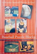 Triangle Inc. Baseball Puzzle Blocks Cube Toy, 6 Wooden Puzzles In One
