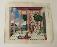 "Vintage Needlepoint Embroidery Mediterranean Scene Canvas Wall Picture 18"" x 21"""