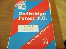 REDBRIDGE  FOREST  V  MARINE   1991-2   FA  TROPHY  REPLAY