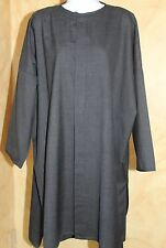 ESKANDAR Long Gray Tropical Wool Cashmere Hi-Low Luxury Tunic Top Shirt Dress 2