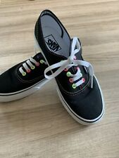 Vans AUTHENTIC (NEON) Black Pink Yellow Canvas Trainer Shoes UK 6