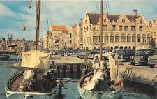 Curacao Netherland Antilles 1950s Postcard Waterfront Fishing Boats