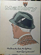 C1950's STAND UP Counter Display ADVERTISING SIGN cardboard MALLORY HATS hat