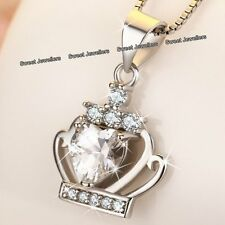 BLACK FRIDAY - 925 Silver Crystal Diamond Heart Crown Necklace Xmas Gift For Her