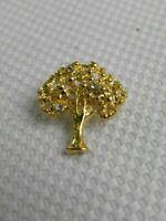 Tree of Life Pin Brooch Gold Tone Metal Rhinestones Plant