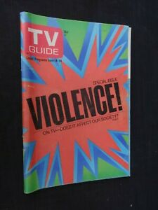 TV Guide June 14-20, 1975 Special Issue Violence on TV + Two Page Ad Jaws Movie