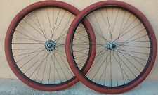 PAIRE DE ROUES VELO CHAPEAU DE GENDARME 650 B MICHELIN PNEUS WHEEL EPOCA FRENCH
