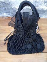 Handtasche Shoppingtasche Einkaufstasche schwarz Blumen Retro gehäkelt Deko
