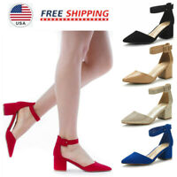 Women's Ankle Strap Pump Shoes Low Chunky Heel Pointed Toe Wedding Dress Shoes