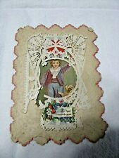 Gorgeous antique Friendship Card with Paper Lace overlay and Embossed base