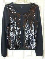 Banana Republic Cardigan Sweater Small Black Fancy Hanging Sequins Shiny Wool