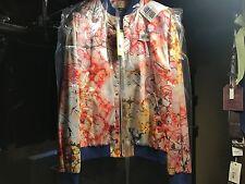 Men's Versace jeans blue jacket coat zipper paint splat red pink art abstract 50